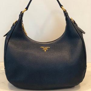 Authentic Prada Vitello Daino Leather Hobo Bag